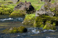 Rocky shores covered with moss of the mountain river, Iceland Stock Photo