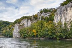 The rocky shores of the Danube, Germany. The rocky shores of the Danube near Kelheim, Germany Stock Images