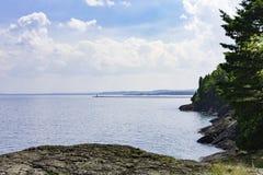 Rocky Shores de la isla de Presque Imagen de archivo