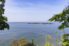 Rocky Shores de la isla de Presque Foto de archivo