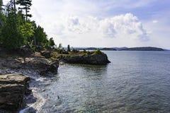 Rocky Shores de la isla de Presque Fotografía de archivo
