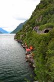 Rocky shores of Hardanger fjord, Hordaland county, Norway.  stock images