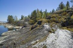 Rocky shores of Lake Ladoga Stock Photography