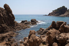 Rocky shores, Lloret de Mar, Spain Royalty Free Stock Photo