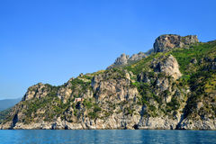 Rocky shores of the Mediterranean Sea between cities Salerno and Amalfi, Italy. Royalty Free Stock Photo