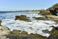 Rocky Shores Mooloolaba Queensland Australia. Rocky shores in Mooloolaba which is a suburb and tourist resort township on the Sunshine Coast of Queensland royalty free stock images