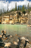 Rocky shores of mountain river. Rocky shores of a mountain river in the Canadian Rockies Stock Image