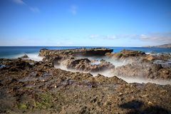 Rocky shores of Victoria Beach in Laguna Beach. California on a sunny day Royalty Free Stock Photo