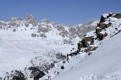 Rocky slope at col margherita, dolomites Royalty Free Stock Image