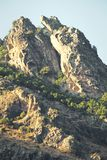 Rocky slope of a mountain with trees. Summit of a mountain in Corsica in France. Serene day with strong sun royalty free stock images