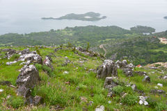 Rocky slope, Skadar lake Stock Image