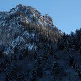 Rocky Snowy Alpine Forest Summit. Wintertime snow ice covered alpine pine forest panorama near Schloss Neuschwanstein and Hohenschwangau castles in Schwangau royalty free stock photography