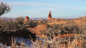 Rocky and Snowy Desert Landscape stock footage