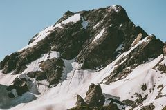 Rocky snowy Mountain peak Landscape Travel. Wild nature scenery Royalty Free Stock Images