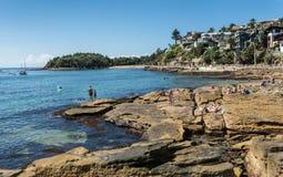 Rocky south section of Manly Beach, Sydney Australia. Stock Photos