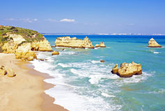 Rocky southcoast near Lagos Algarve Portugal Royalty Free Stock Photos