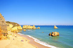 Rocky southcoast near Lagos in Portugal Stock Photography