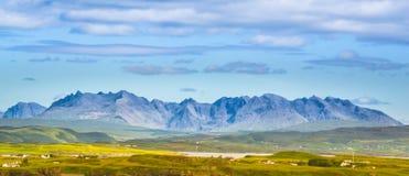 Rocky spectacular peaks of Black Cuillin mountain range - Isle of Skye, Scotland stock images