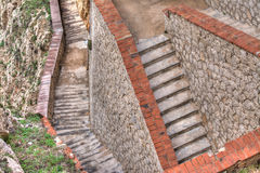 Rocky stairway in Capo Caccia Royalty Free Stock Photo