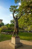The Rocky Statue in Philadelphia. PHILADELPHIA - May 7: The Rocky Statue in Philadelphia, USA, on May 7, 2015. Originally created for the movie Rocky III, the stock photography