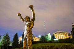 The Rocky Statue in Philadelphia. PHILADELPHIA - May 6: The Rocky Statue in Philadelphia, USA, on May 6, 2015. Originally created for the movie Rocky III, the royalty free stock photography