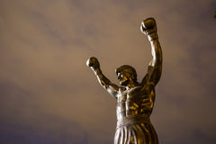 The Rocky Statue in Philadelphia. PHILADELPHIA - May 6: The Rocky Statue in Philadelphia, USA, on May 6, 2015. Originally created for the movie Rocky III, the royalty free stock photo