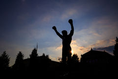 The Rocky Statue in Philadelphia. PHILADELPHIA - May 7: The Rocky Statue in Philadelphia, USA, on May 7, 2015. Originally created for the movie Rocky III, the stock images