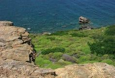 Rocky steep cliff over sea Royalty Free Stock Photos