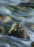 Rocky stream. Protruding rock in flowing stream captured in a blurred motion by using a slow shutter speed Stock Photos