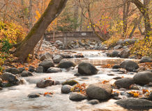 Rocky stream with bridge in autumn stock images