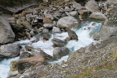 Rocky stream. With rushing, turbulent water in New Zealand Royalty Free Stock Photo