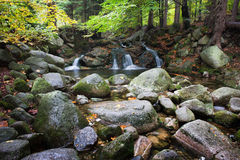 Rocky Stream with Water Cascade Royalty Free Stock Photography