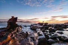 Rocky Sunrise Seascape stockfoto
