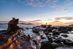 Rocky Sunrise Seascape. Taken at Avoca Beach, Central Coast, NSW, Australia Stock Photo