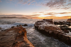 Rocky Sunrise Seascape. Taken at Avoca Beach, Central Coast, NSW, Australia Royalty Free Stock Image
