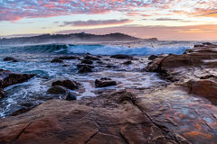 Rocky Sunrise Seascape. Taken at Avoca Beach, Central Coast, NSW, Australia Stock Photos