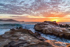 Rocky Sunrise Seascape. Taken at Avoca Beach, Central Coast, NSW, Australia Royalty Free Stock Photography