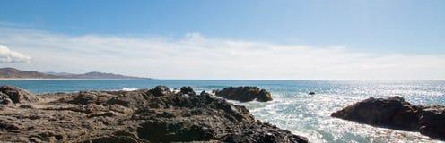 Rocky surf Point Break at Cerritos Beach between Todos Santos and Cabo San Lucas in Baja California Mexico. Rocky Point Break at Cerritos Beach between Todos Stock Photography