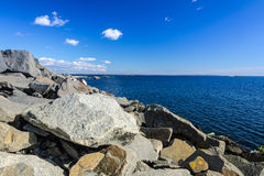 Rocky Swedish coast in March Royalty Free Stock Images