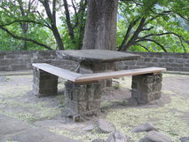 Rocky table. A table, in Cozia's monastery backyard, near the Olt reaver Stock Photography