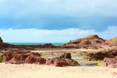Rocky Tantallon Castle beach, Scotland. Rocky Tantallon Castle beach in summer , Scotland Stock Photo