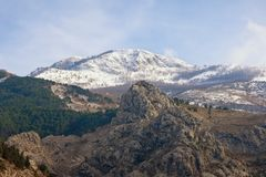 Rocky terrain of the Dinaric Alps, mountain landscape on sunny winter day. Montenegro stock image