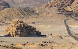 Rocky terrain. Road running through the rugged terrain of South Sinai, Egypt stock photos