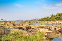 Rocky terrain at Tungabhadra River, Hampi, Karnataka, India. Asia royalty free stock image