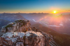 Rocky top of mountain in tirol alps. At colorful sunset Stock Image