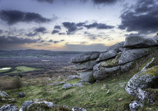 Rocky Tor. A rocky outcrop of weathered granite at Helman Tor near Bodmin in Cornwall Royalty Free Stock Image