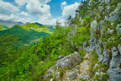 Rocky trail on mountains Royalty Free Stock Image