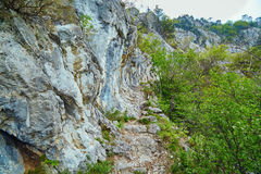 Rocky trail on mountains Stock Photography