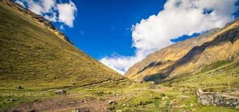 Salkantay trekking trail peru. Rocky trail in the valley of the salkantay  trail peru Royalty Free Stock Photography