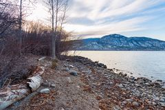 Rocky tree lined shoreline with view of lake and snow covered mountains at sunset stock photos